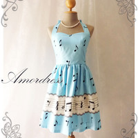 Music Lover -Blue Dress Music Note Summer Retro Party Cocktail Bridesmaid Birthday Concert Anniversary Event All Party Every Day Dress