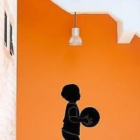 Wall Stickers Vinyl Decal Little Boy With Basketball Ball For Nursery Unique Gift (z1778)