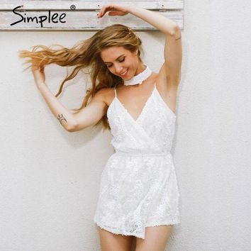 DCCKFV3 Simplee Sexy halter sequined jumpsuit romper Chic deep v neck white lace  playsuit women Summer sleeveless party club overalls