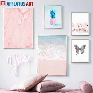 Pink Ocean Butterfly Flamingo Pineapple Wall Art Canvas Painting Nordic Posters And Prints Wall Pictures For Living Room Decor