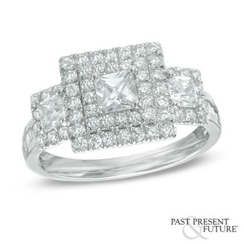 1-1/2 CT. T.W. Princess-Cut Diamond Double Frame Past Present Future® Ring in 14K White Gold