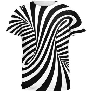 PEAPGQ9 Trippy Black And White Swirl All Over Adult T-Shirt