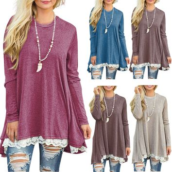 Womens Long Sleeve Blouse Lace Hem Tunic Loose Tops Jumper A Dress