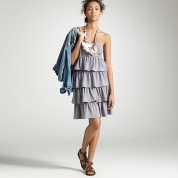 NWT J.Crew Gabriella Strapless Tiered Dress, Gray, Size Medium