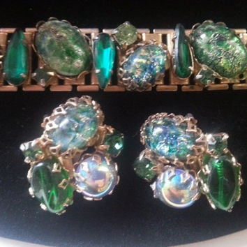Vintage Chunky Rhinestone Bracelet Earring Set Headlight Huge Stones 1950's Collectible Jewelry High End Quality