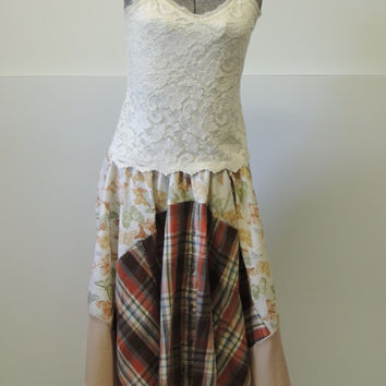 Upcycled Patchwork Skirt / Hippie Skirt / Gypsy Skirt /  Colorblock Skirt / Handkerchief Hem Skirt /  Medium - Plus Size By Tattered FX