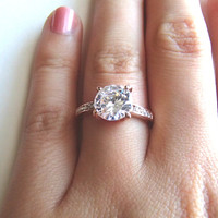 2ct Solitaire Cubic Zirconia Diamond Ring - Rose Gold and Silver