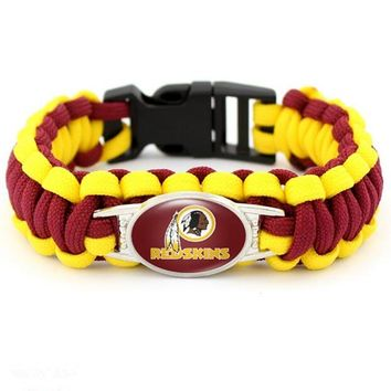 USA Football Team Washington Redskins Fans Jewelry Outdoor Camping Paracord Bracelet Rescue Rope Survival Bracelet 10pcs/lot