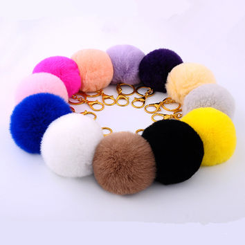 Ace Product 15 Colors Women Bag Fur Pom Pom Keychain 2016 Fur Ball Car Key Chain 8cm Pompom Key Holder Motorcycle Pompon Keyring