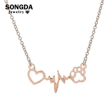 SONGDA Fashion Pet Paw Print Necklace Statment Love Heart to Heart Electric Current Necklaces Pendants for Women Lovely Jewelry