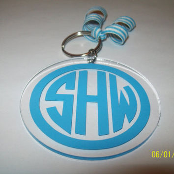 Acrylic Keychain with 3 Initial Monogram and by FrillyFllops