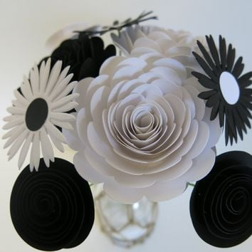 Classic Black and White Flower Bouquet, 9 Handmade Card Stock Flowers on Stems