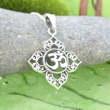 Om Lotus Necklace in Sterling Silver