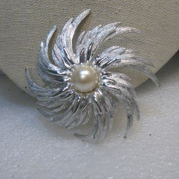 Vintage Sarah Coventry Spiral Brooch,  Blossom, Faux Pearl, 1970's, 3""