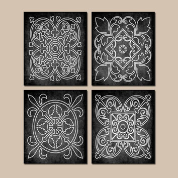 BLACK Wall Art, CANVAS or Prints, Chalkboard Abstract Modern, Medallion Outline, Bathroom Picture, Bedroom Artwork, Matching Decor, Set of 4