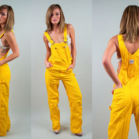 Vintage 70s Yellow Overalls mustard bib coveralls Utility minimalist 1970s boho hippie worker tapered outfit Jumpsuit LEE Brand M