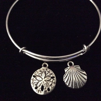 Sand Dollar with Sea Shell Silver Expandable Charm Bracelet Adjustable Wire Bangle Trendy Handmade Nautical Ocean