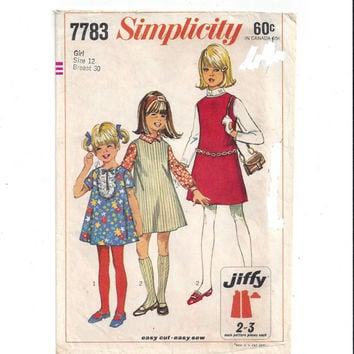 Simplicity 7783 Pattern for Girls' Jiffy Dress, Jumper, Size 12, From 1968, Easy Cut, Easy Sew, Vintage Pattern, Home Sewing Pattern