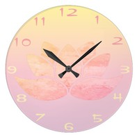 Pink Lotus Large Clock