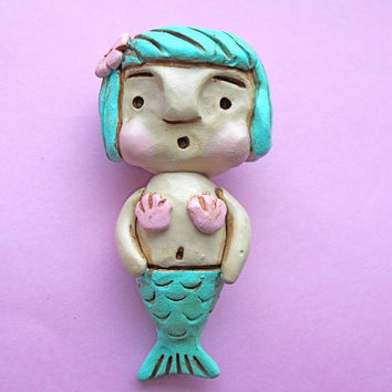 Turquoise Mini Folk Art Mermaid Wall Sculpture by indigotwin