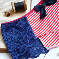 Hello Sailor Stripes and Lace Cheeky Panties Made to Order