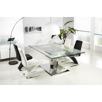Casabianca Diamond Stainless Steel Expandable CB-123C Dining Table