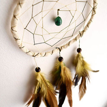 Dream Catcher - Fresh Spring - With Green Gemstone, Yellow-Green-Black Feathers and Light Yellow Frame - Home Decor, Mobile