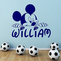 Personalized Name Wall Decal Mickey Mouse Decals Boy Nursery Room Decor DS403
