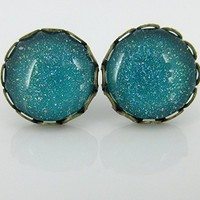 Antiqued Gold-tone Holographic Glitter Glass Stud Earrings Teal Blue Green