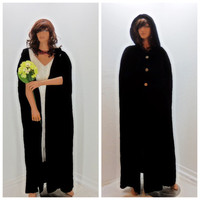 Black velvet cape, full length hooded cape, black velvet cloak, satin lined opera coat, boho, vintage, gothic, Sunny Boho