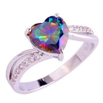 Fashion Jewelry Heart Cut Rainbow & White Topaz Gemstone Silver Ring Size 6 7 8 9 10 11 12 13