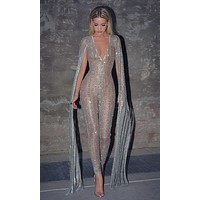 Nearly Naked Glitter Striped Nude Silver Plunge V Neck Flare Sleeve Bodycon Jumpsuit