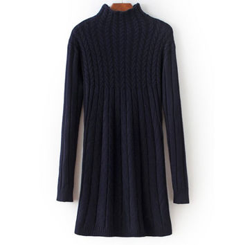 High Neck Long Sleeve Cable Knit Sweater Mini Dress