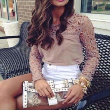 Crochet Embroidered Women Lace Top