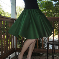 Green Circle Skirt Custom Made Any Size Womens fashion Cotton Full Skirt