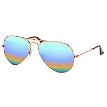 Ray Ban Aviator Classic RB 3025 9018C3 Bronze Copper Sunglasses Rainbow Flash 58