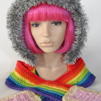 Nyan Cat Hooded Crochet Scarf - Crochet Scarf- Kawaii- Women Scarf- Rainbow Scarf- Animal Scarf