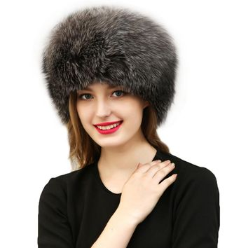 New 2017 Warm Women's Hat Faux Fur Crochet Beanies Caps Fox Fur Pompom Ball Pendant Russian Style Windproof Ear Prot F3