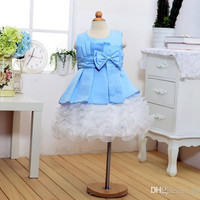 Retail Big Bow knot Baby Girl Dress Princess Wedding Party Cloth Christmas New Year Children Clothing