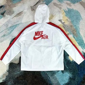 """NIKE"" Stylish White Red Color Matching Hooded Zipper Cardigan Sweatshirt Jacket Coat Windbreaker Sportswear I-YF-MLBKS"