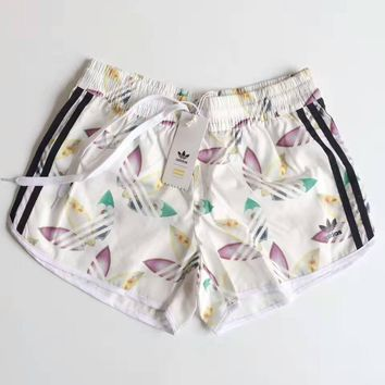 adidas summer flower print casual shorts