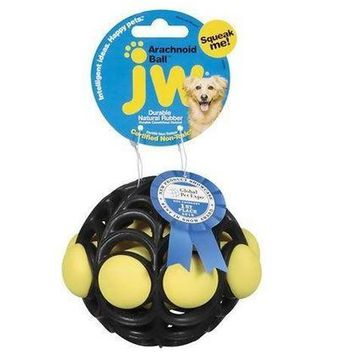 JW Pet Arachnoid Spider Web Rubber Ball Dog Toy Sz: Med