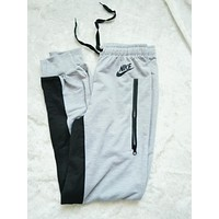 "Women Fashion ""NIKE"" Print Sport Stretch Pants Trousers Sweatpants Grey"