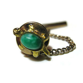 Small Vintage Turtle Tie Tack Lapel Pin Green Gold Tone Mid Century Animal Figural Jewelry