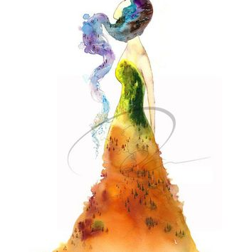 Gypsy - Art Print wedding dress fashion sketch design autumn bride spirit lady mountain woman nature watercolor painting Oladesign 5x7