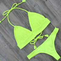 Design Bikini Women Swimsuit Push Up Yellow Thong Bikinis
