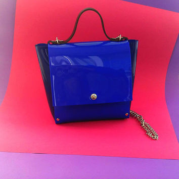 Blue pvc bag, glossy PVC crossbody, standout design messenger, blue vinyl shoulder purse, minimal blue medium satchel, unique woman handbag