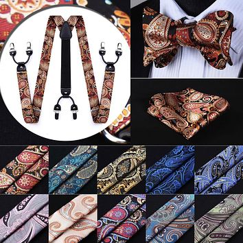 Various color and styles of Classic 6 Clips Suspender& Self Bow-tie and Pocket Square Set