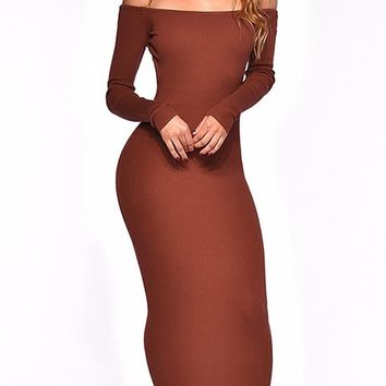 Keep On Keepin' On Long Sleeve Off The Shoulder Backless Bodycon Sweater Knit Maxi Dress - 2 Colors Available