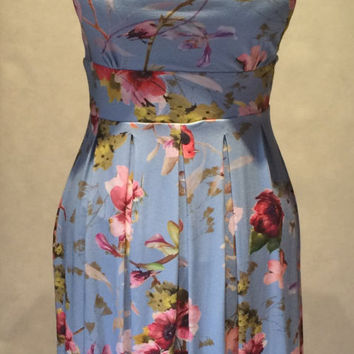 Summer dress, floral dress, bird and flowers dress, jersey dress, cute dress, day dress, midi dress